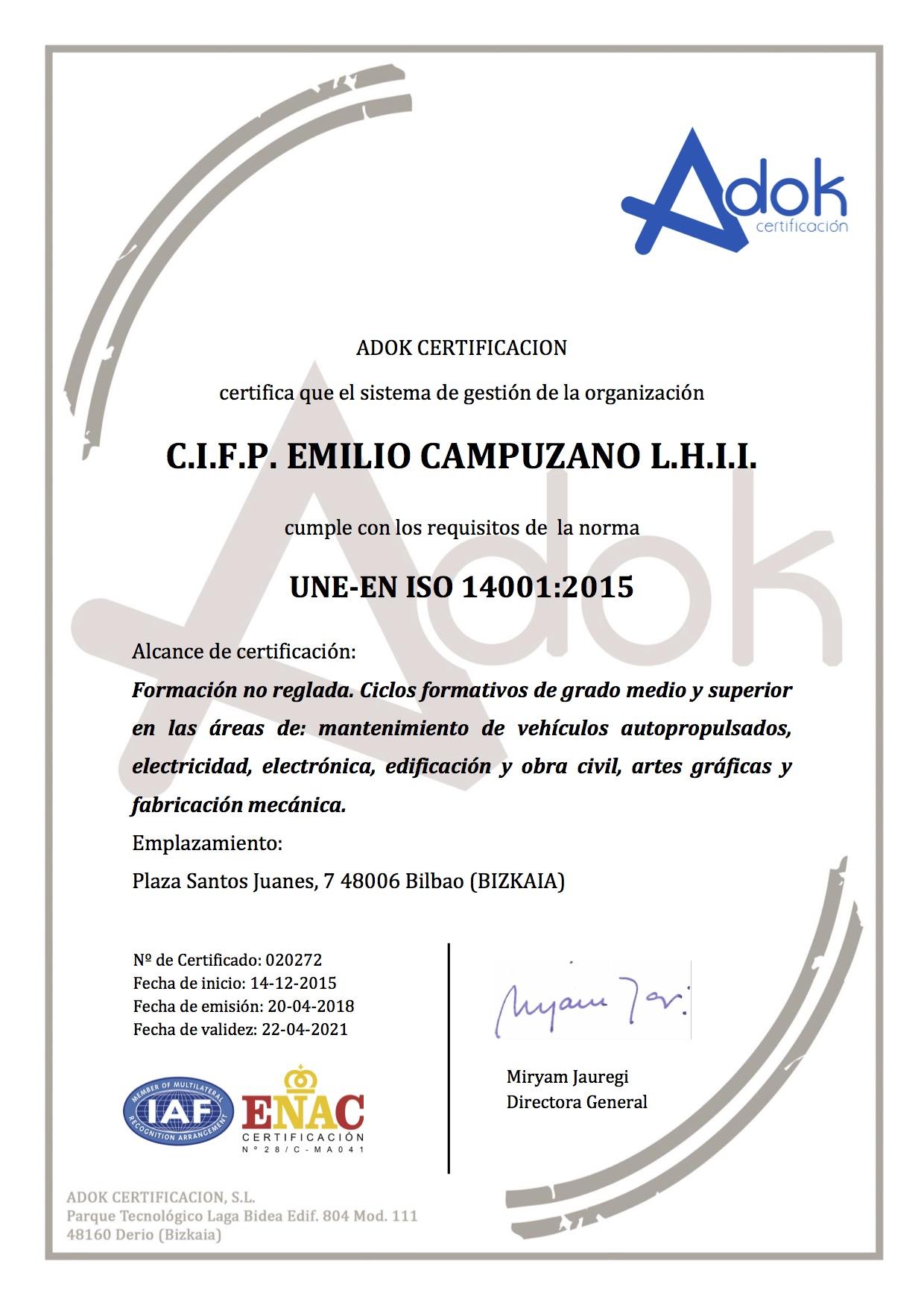 Certificado 14001 2015 Emilio Campuzano
