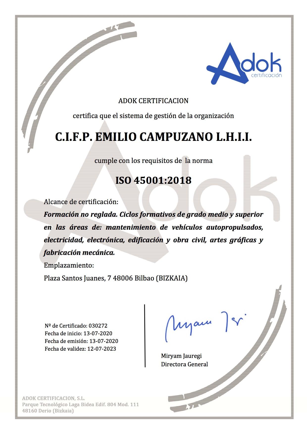 Certificado 45001 2007 Emilio Campuzano